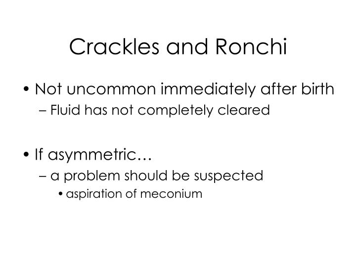 Crackles and Ronchi