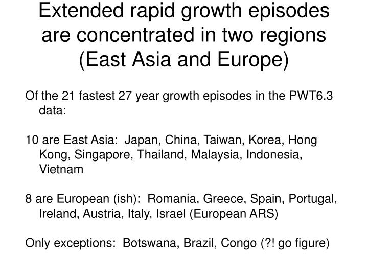 Extended rapid growth episodes are concentrated in two regions (East Asia and Europe)