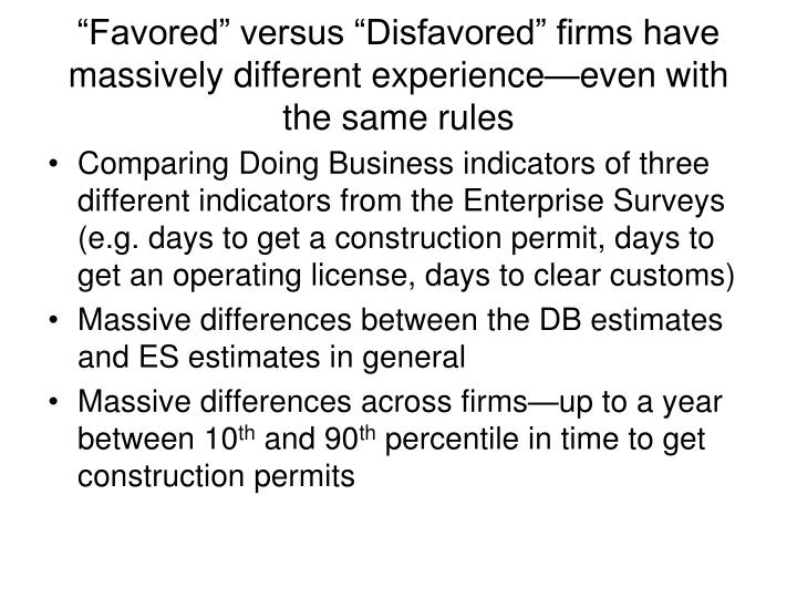 """Favored"" versus ""Disfavored"" firms have massively different experience—even with the same rules"