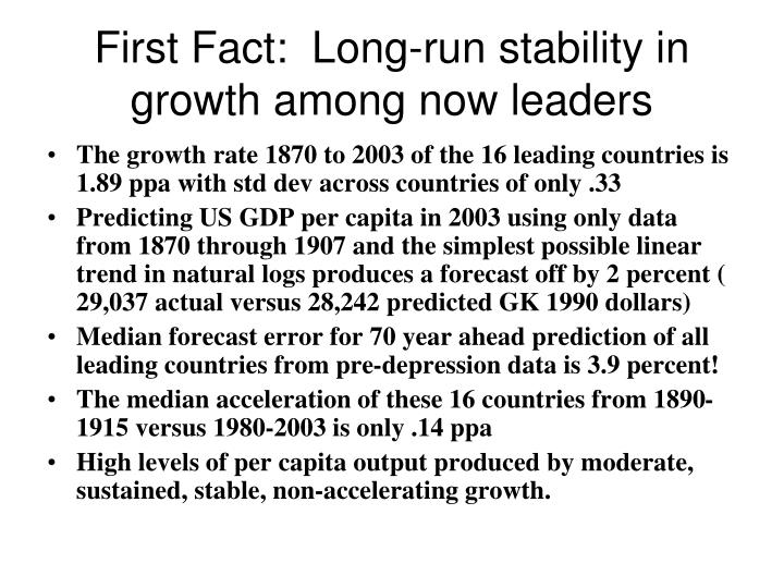 First Fact:  Long-run stability in growth among now leaders