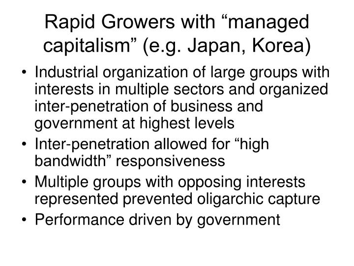 "Rapid Growers with ""managed capitalism"" (e.g. Japan, Korea)"