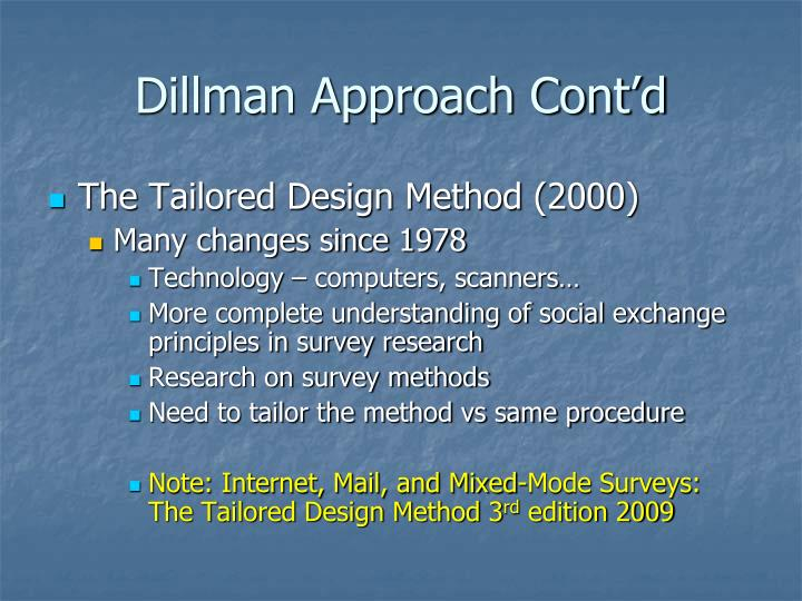 Dillman Approach Cont'd