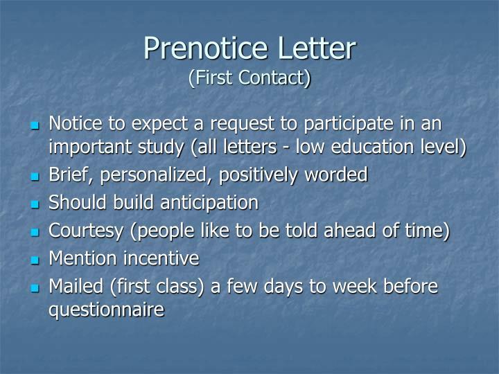Prenotice Letter