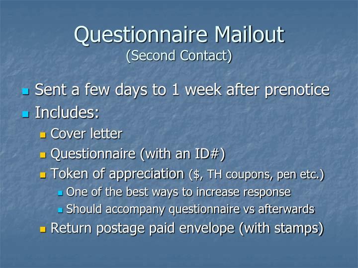 Questionnaire Mailout