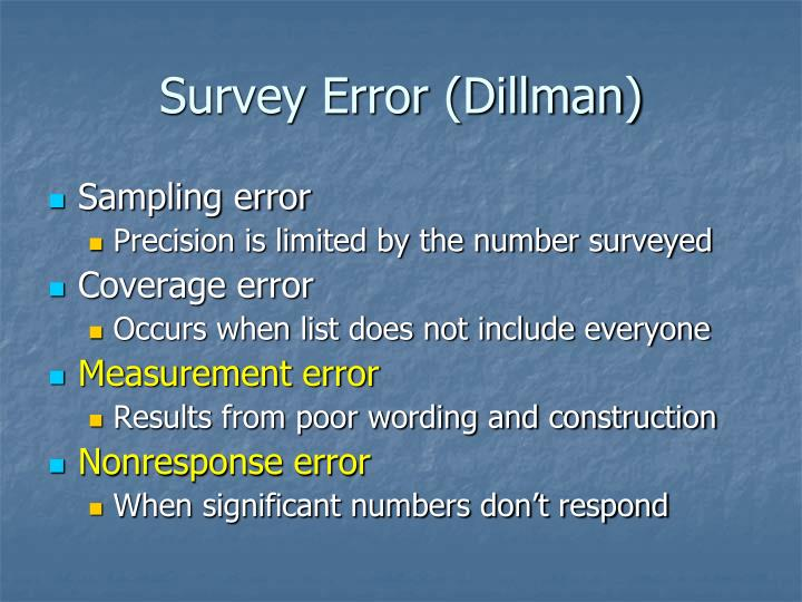 Survey Error (Dillman)