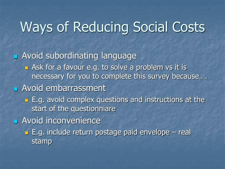 Ways of Reducing Social Costs