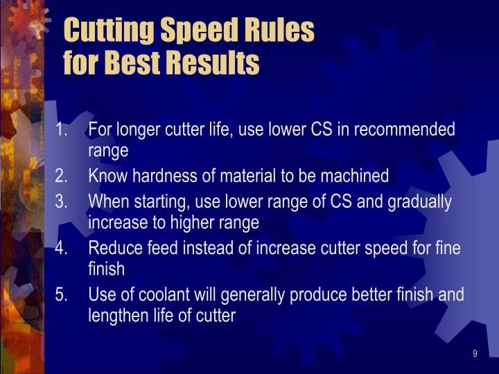 Cutting Speed Rules