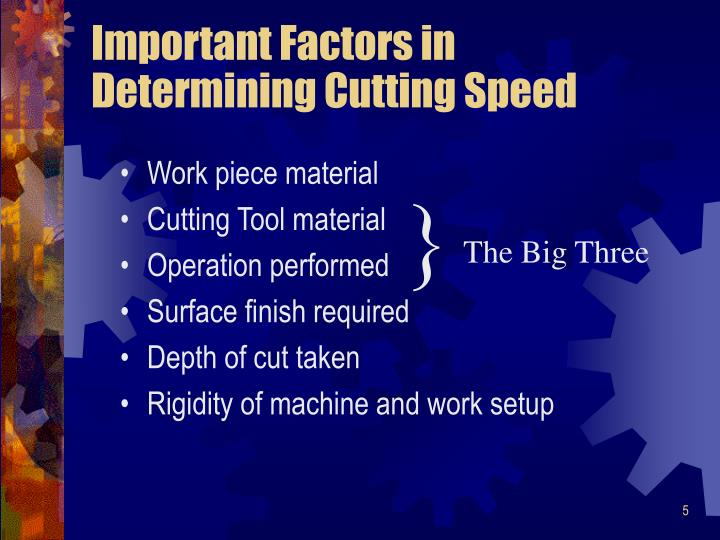 Important Factors in Determining Cutting Speed