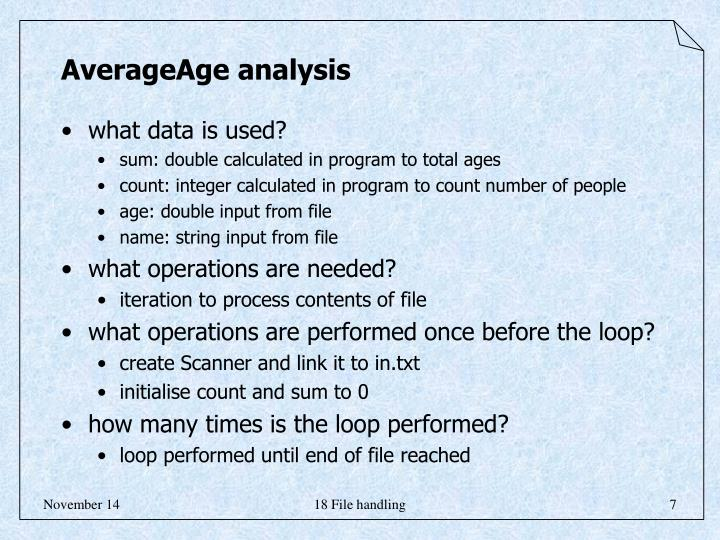 AverageAge analysis