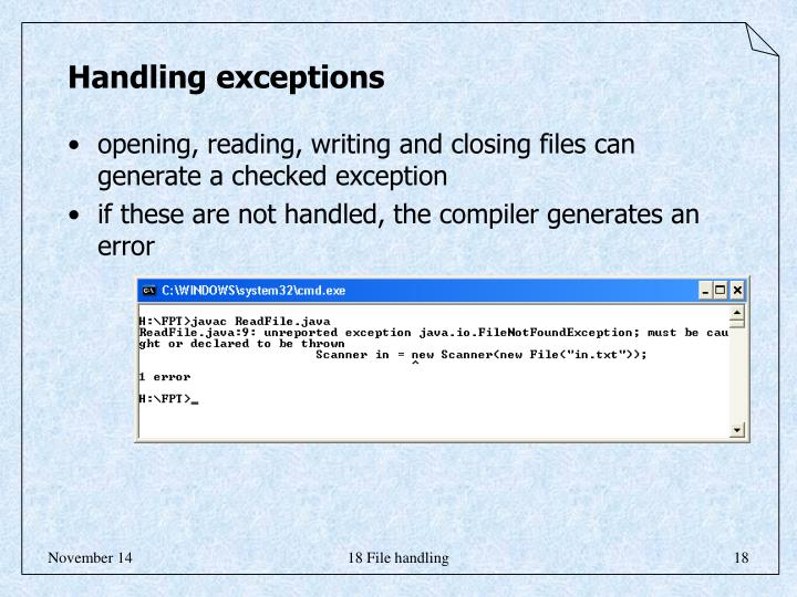 Handling exceptions