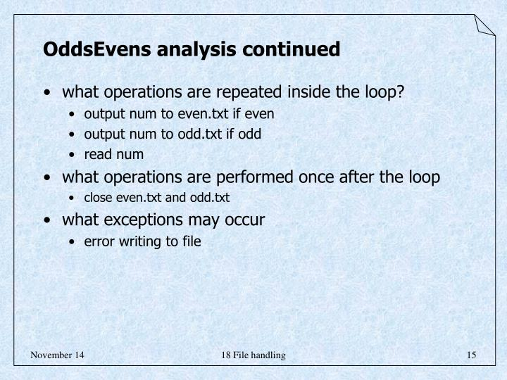 OddsEvens analysis continued