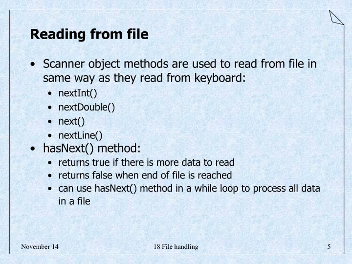 Reading from file