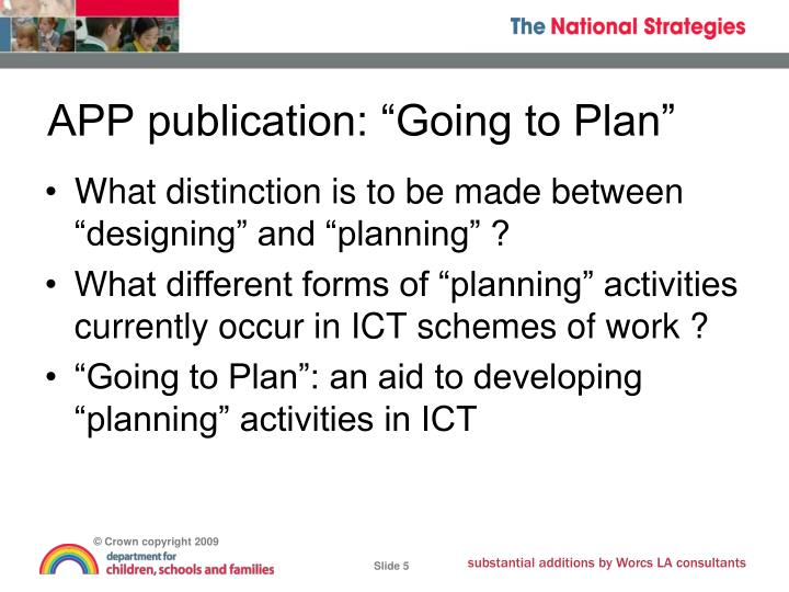 "APP publication: ""Going to Plan"""
