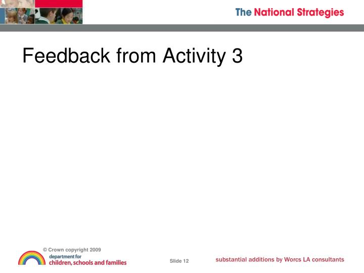 Feedback from Activity 3