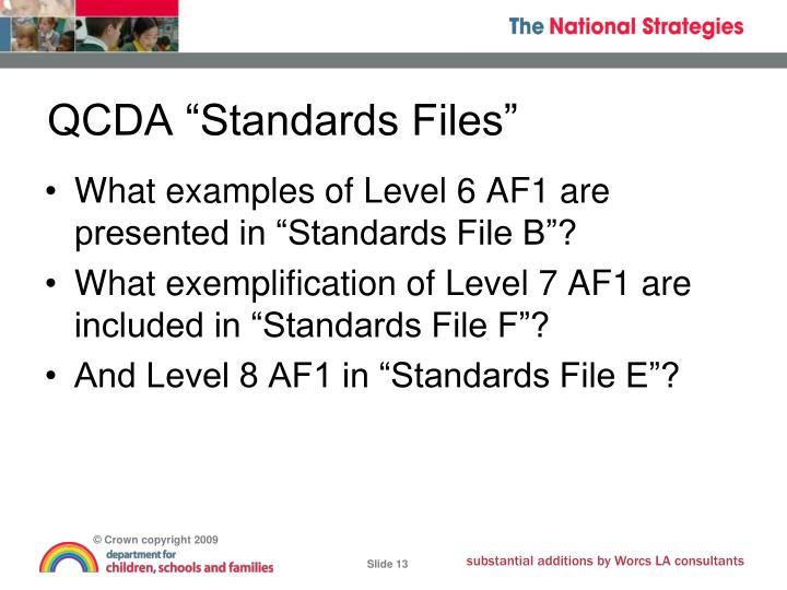 """QCDA """"Standards Files"""""""