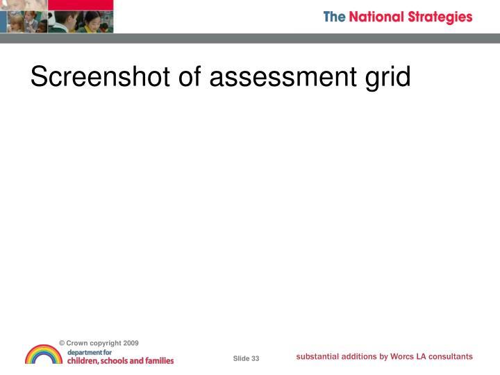 Screenshot of assessment grid