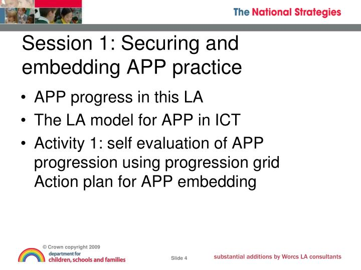 Session 1: Securing and embedding APP practice