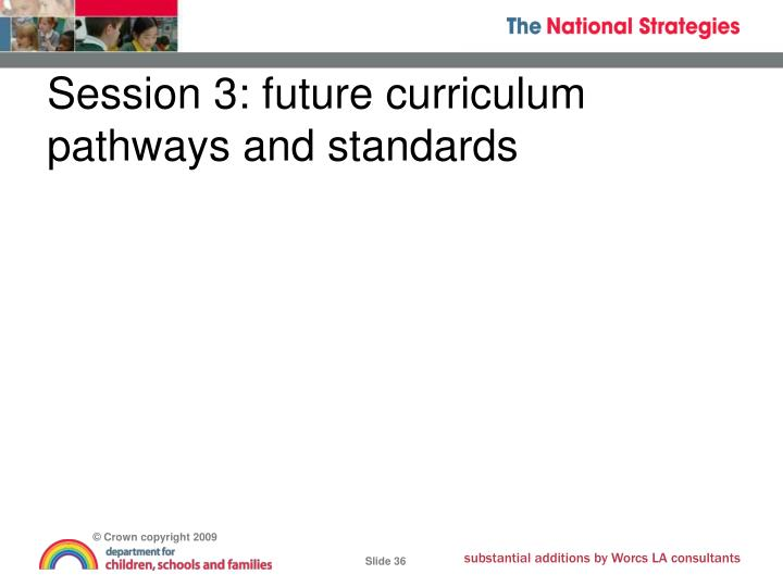 Session 3: future curriculum pathways and standards