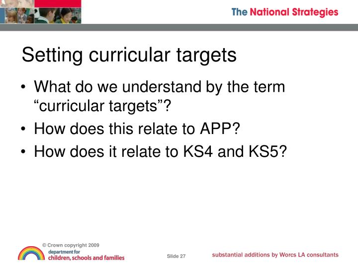 Setting curricular targets