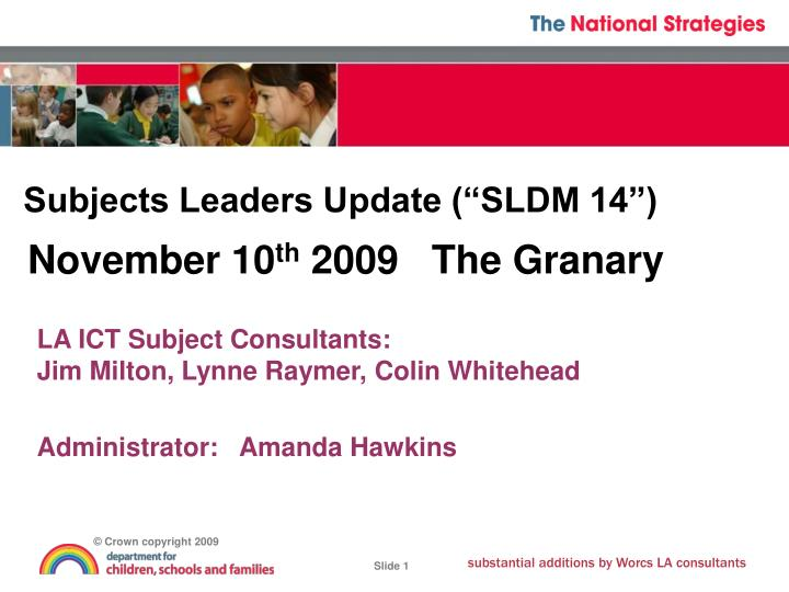 Subjects leaders update sldm 14