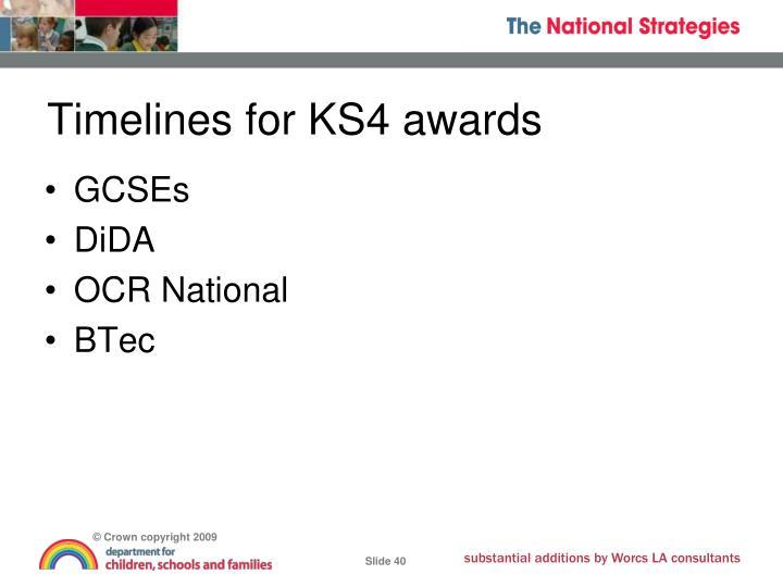Timelines for KS4 awards
