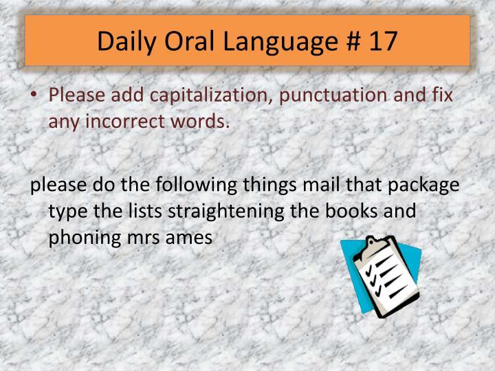Daily Oral Language # 17