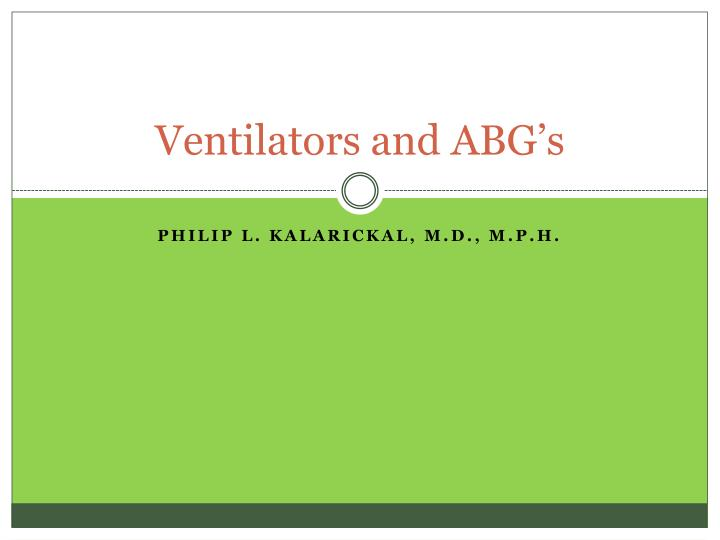 ventilators and abg s