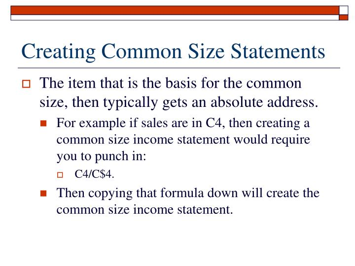 Creating Common Size Statements