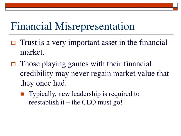 Financial Misrepresentation
