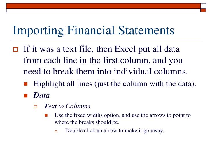 Importing Financial Statements