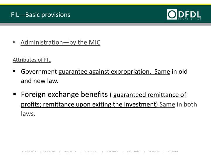 FIL—Basic provisions