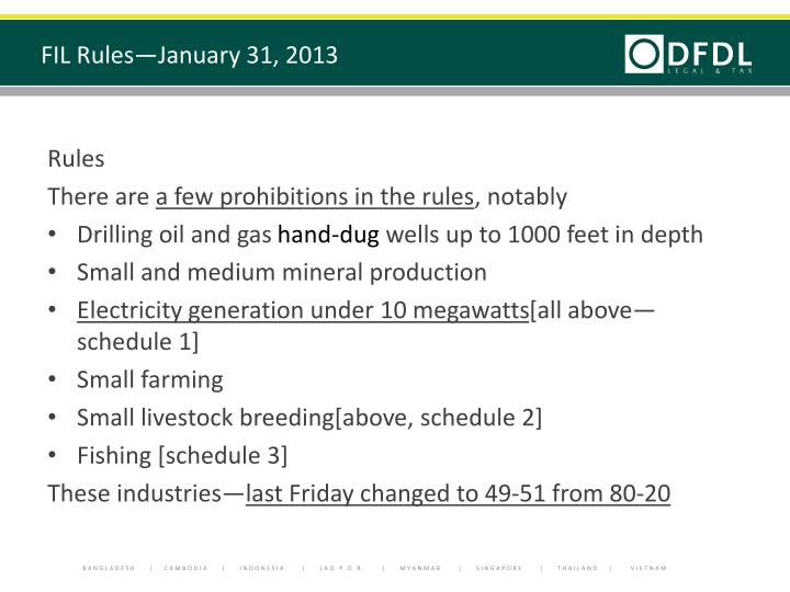 FIL Rules—January 31, 2013