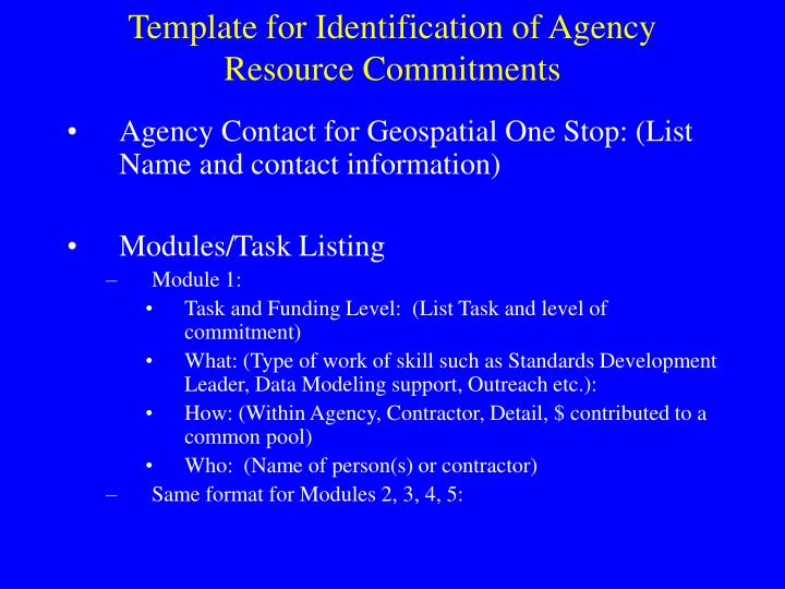 Template for Identification of Agency Resource Commitments