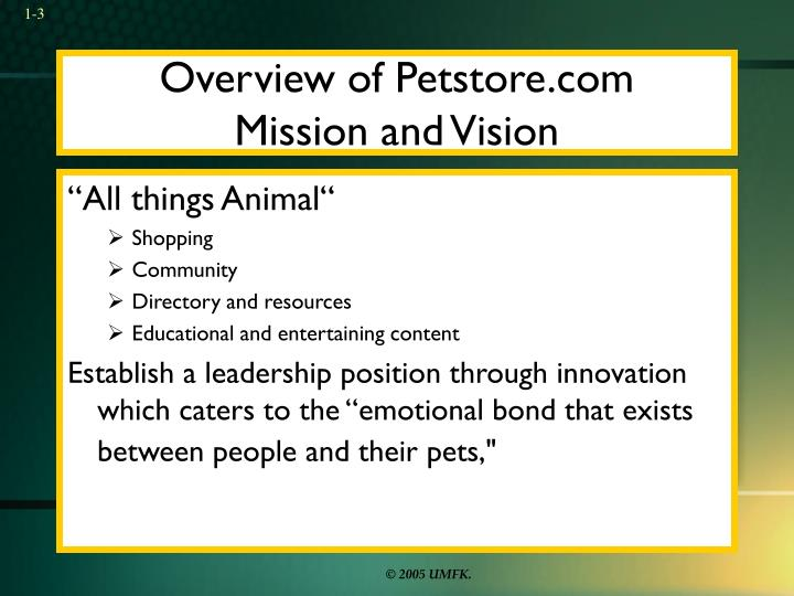 Overview of petstore com mission and vision