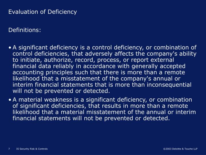 Evaluation of Deficiency