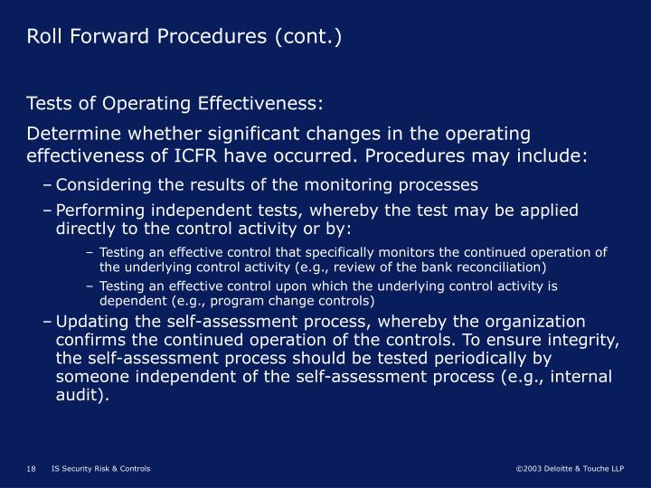 Roll Forward Procedures (cont.)