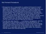 roll forward procedures