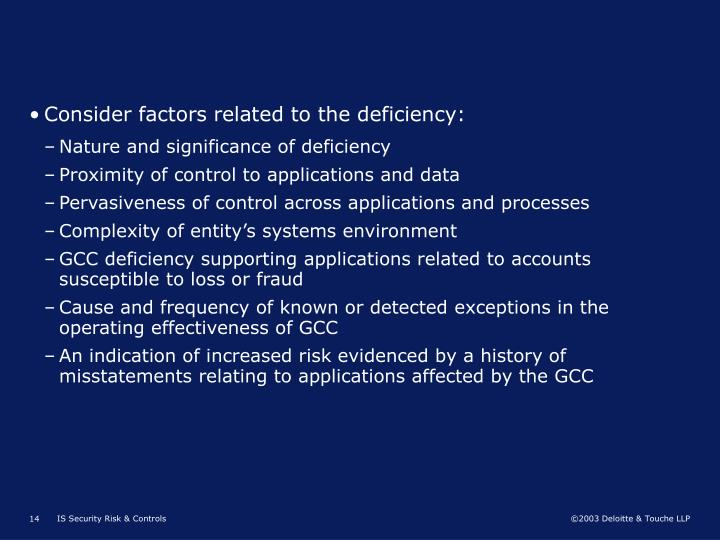 Consider factors related to the deficiency: