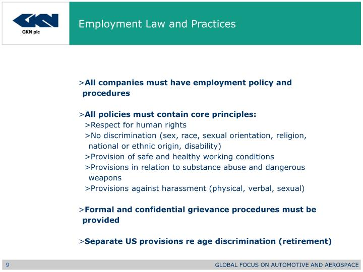 Employment Law and Practices