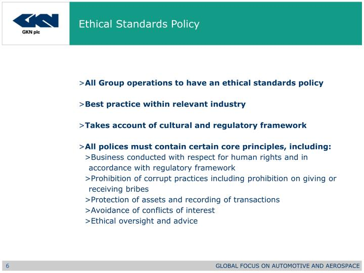 Ethical Standards Policy