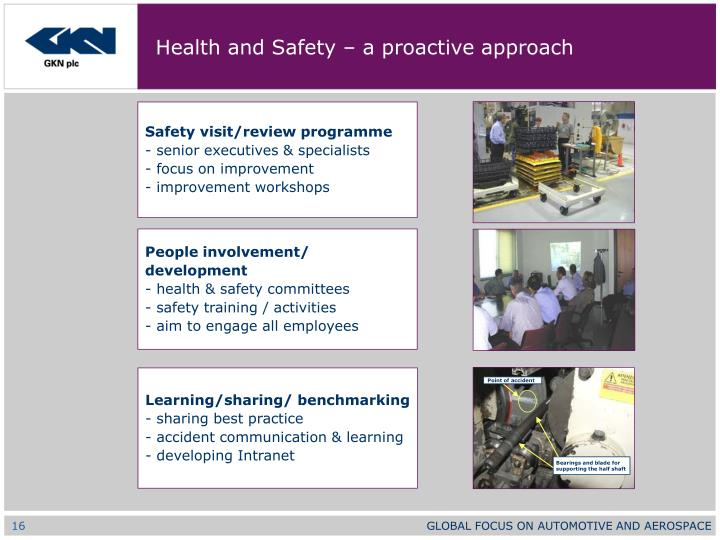 Health and Safety – a proactive approach