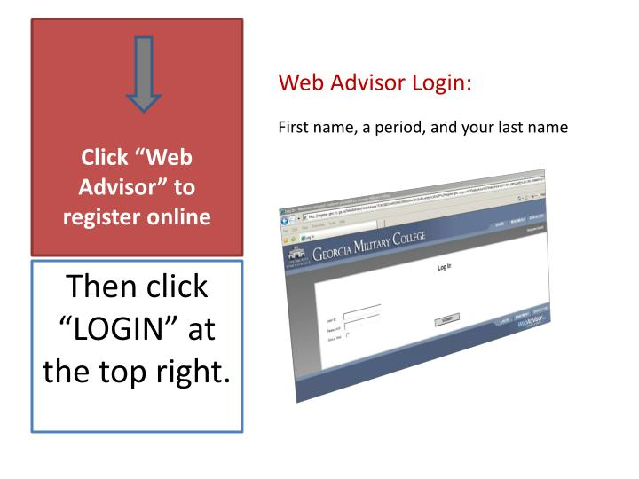 "Click ""Web Advisor"" to register online"