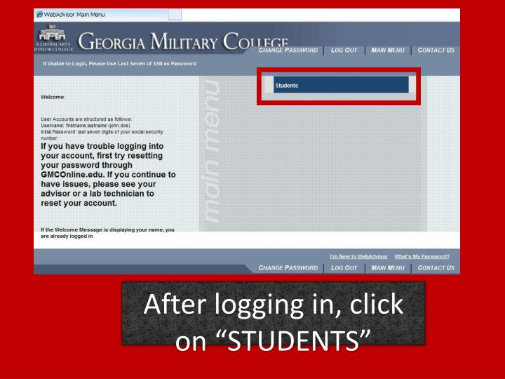 "After logging in, click on ""STUDENTS"""