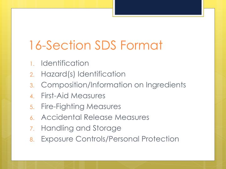 16-Section SDS Format