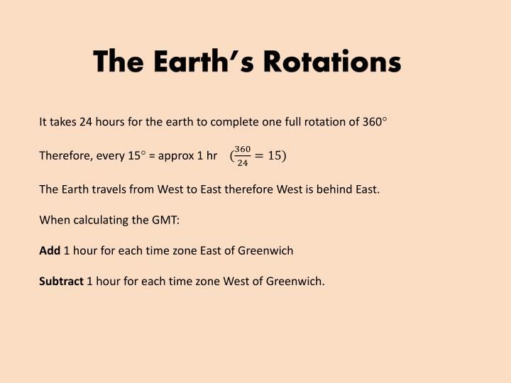The Earth's Rotations