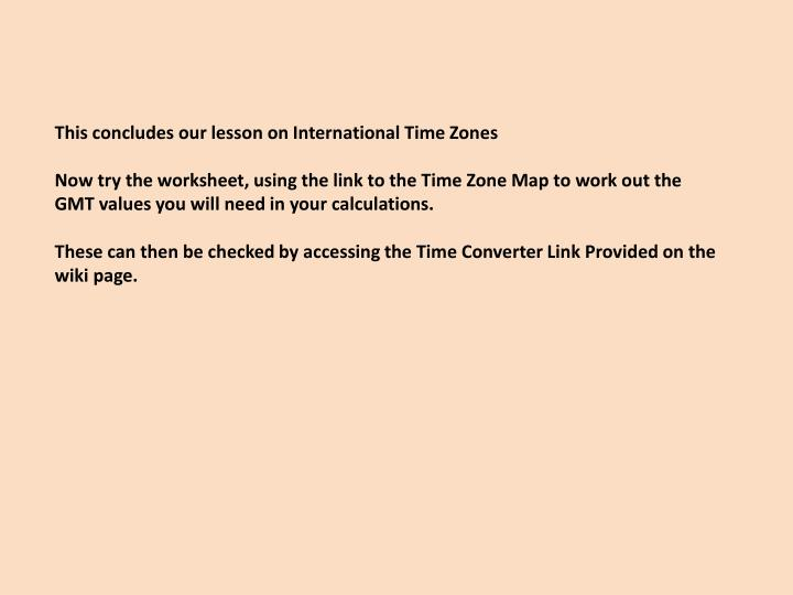 This concludes our lesson on International Time Zones