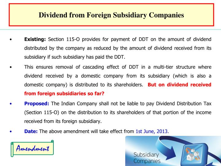 Dividend from Foreign Subsidiary Companies