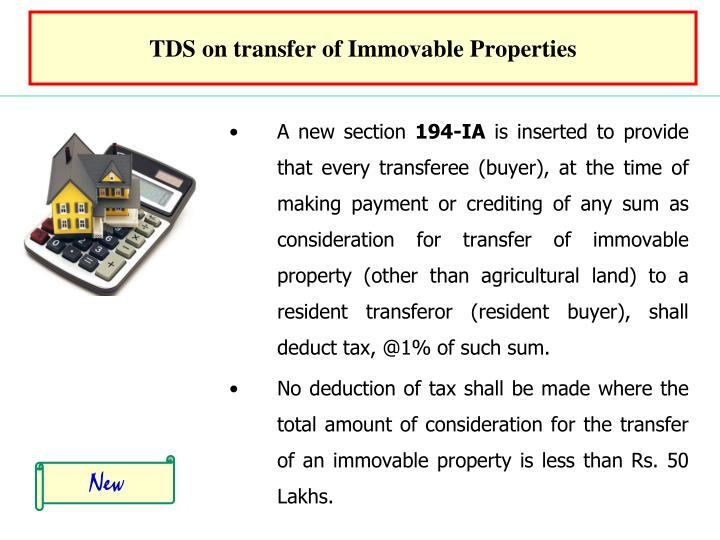 TDS on transfer of Immovable Properties