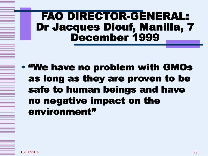 FAO DIRECTOR-GENERAL: