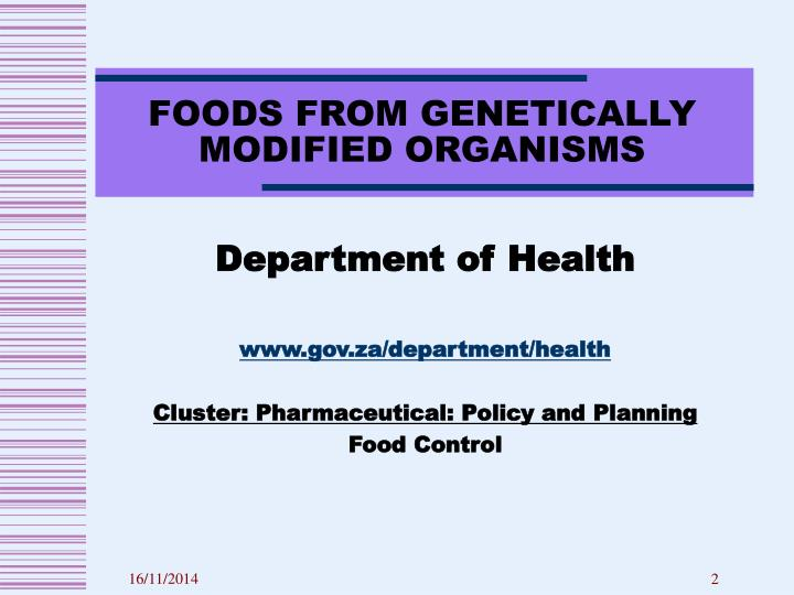 FOODS FROM GENETICALLY MODIFIED ORGANISMS